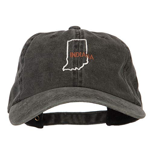 e4Hats.com Indiana with Map Outline Embroidered Washed Cotton Twill Cap - Black OSFM