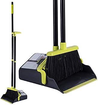 SUNKI Long Handle Broom and Dustpan Set