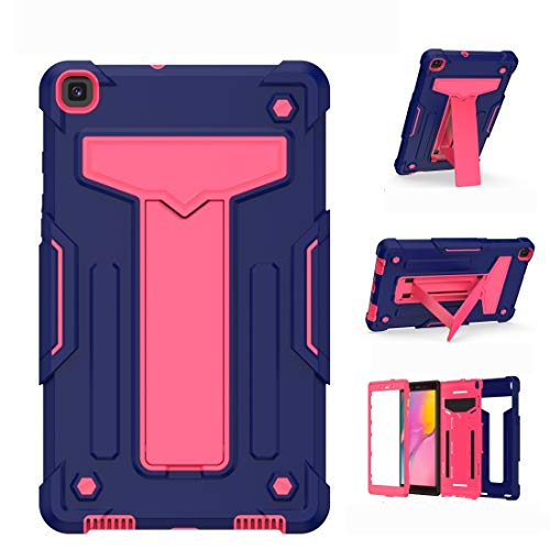 BZN For Samsung Galaxy Tab A8.0 (2019) T290 T-shaped Bracket Contrast Color Shockproof PC + Silicone Flat Protective Case (Color : Navy+Rose Red)