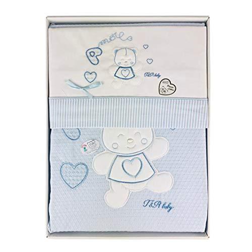 Nada Home 2914 Parure de lit 4 pièces en coton brodé avec couverture Lettino bleu ciel
