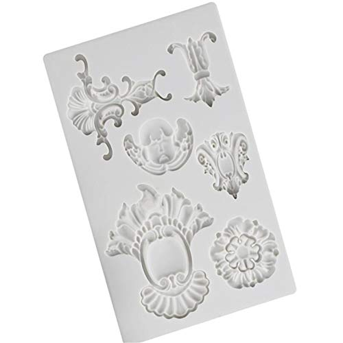 Molde de silicona con forma de marco para tartas, moldes de relieve para bricolaje, herramientas de decoración de pasteles, molde de encaje para cupcakes, molde para fondant, molde de arcill