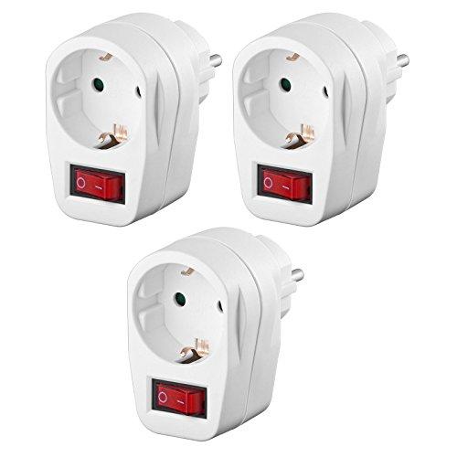 3x Schutzkontaktsteckdose | Steckdosenschalter | schaltbare Steckdose | beleuchteter Schalter | Netzdose mit Schutzkontakt | Sicherheitsschalter | Zwischensteckdose | 3 Stück