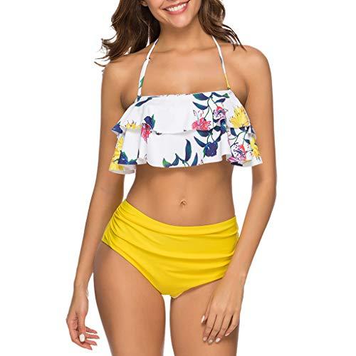 QIMANZI Bikini Sets Damen Badeanzug Rüschen Hals Hängen Zweiteilige Bademode mit Hoher Taille Strandkleidung Swimsuit(D Weiß,L)