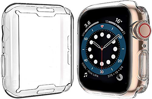 Yolin [2-Pack] All-around TPU Screen Protector Compatible with Apple Watch Series 6/ SE/Series 5 / Series 4 44mm, Soft Protective Case For iwatch 44mm (2 Transparent)
