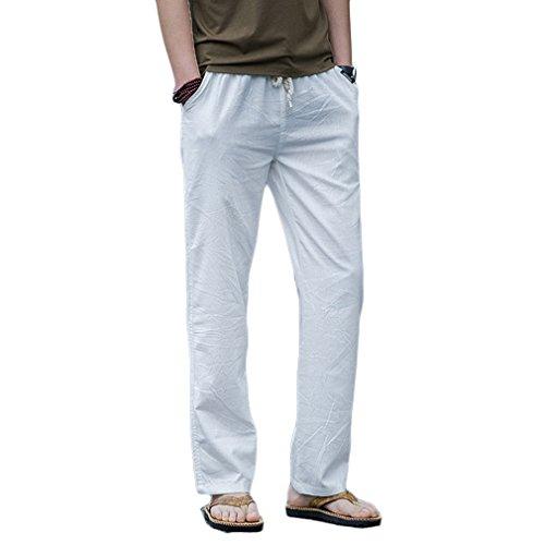 HOEREV Men Casual Beach Trousers linen jean jacket Summer Pants, White, Medium