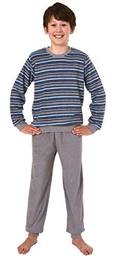 Jungen Frottee Pyjama Schlafanzug Langarm mit Bündchen - Oberteil gestreift - 291 13 576, Farbe:grau/blau, Größe:146/152