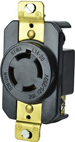 Marinco Power Products 2014R 20A 125/250V 3P 4W (L14-20R) Standard NEMA Locking Receptacle - White Body in A Black Housing