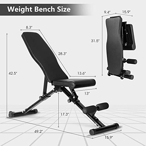 Weight Bench, Adjustable Strength Training Bench for Full Body Workout with Fast Folding