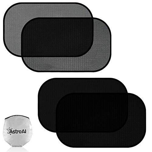 AstroAI 4er Pack Sonnenschutz Auto Baby - 50x30cm selbsthaftende Sonnenblende für Seitenfenster, 80GSM UPF50+ Blockiert Sonne, Blendung und über 97% schädlichen UV-Strahlen, 2 Arten von Transparenz