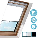 Hengda Dachfenster Rollo Verdunkelungsrollo für VELUX Dachfenster / S06 Weiß (97.3x94cm)/ Verdunkelung & Thermo Hitzeschutz