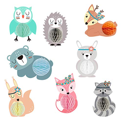 VIVID TREE 8 Pcs Woodland Animals Honeycomb Centerpieces Woodland Creature Table Decorations for Woodland Baby Shower Birthday Party Decorations