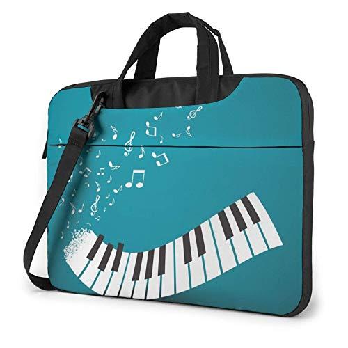 Bolso de Hombro para portátil con Estampado de Teclas de Piano Verde y Blanco, Bolso de Mano para portátil, Bolso de Mensajero de Negocios, maletín