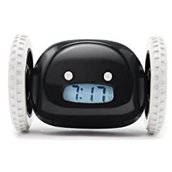 Clocky Alarm Clock on Wheels (Original)  Extra Loud for Heavy Sleeper (Adult or Kid Bed-Room Robot Clockie) Funny, Rolling, Run-away, Moving, Jumping (Black)