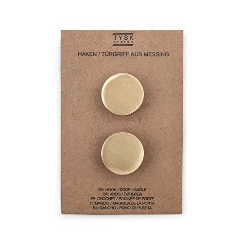 TYSK Design Wandhaken/Türknauf aus Messing 2er Pack (Farbe und Design wählbar) – hochwertig und massiv aus Metall gefertigt