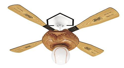 Hunter 23252 Baseball 44-Inch Single Light 4-Blade Ceiling Fan, Leather-Look Mitt Base with 4 Pine/Aluminum Blades and Baseball Light