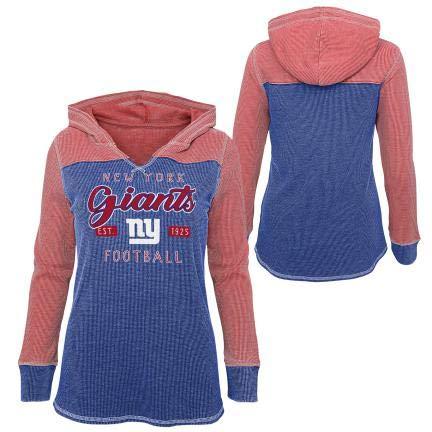 A-Team Apparel New York Giants - Camiseta térmica de manga larga con capucha para niñas (azul, talla L 14)
