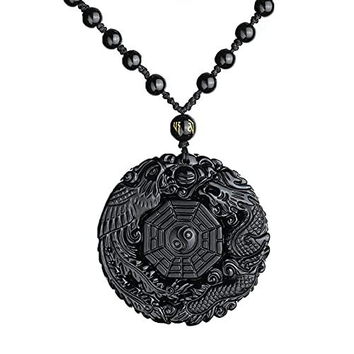 FYAOTRE Collar con Colgante de Cristal de dragón Bagua, Colgante de obsidiana, dragón y fénix, Colgante de obsidiana Negra Natural Pura, talismán