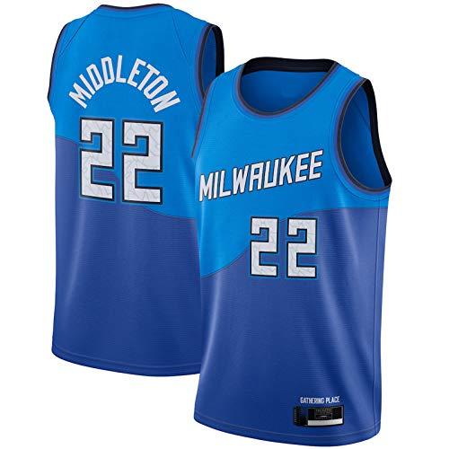 DSHJK Khris Away Middleton Jersey Milwaukee temporada 2020/21 Bucks Swingman Player Blue Jersey #22 City Edition - Camiseta de baloncesto para hombre