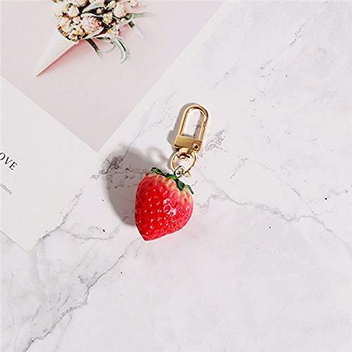 SLIODK sleutelhanger 1 stuk aardbei rode hart sleutelhanger voor vrouwen sieraden meisje gesimuleerd fruit schattige auto sleutelhanger beste vriend one strawberry