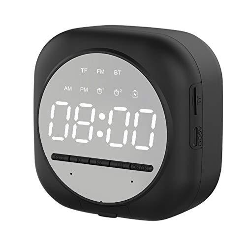 Staright Altavoz Bluetooth Despertador , Altavoz Inalámbrico Portátil, Reloj Despertador Dual, Radio FM, Pantalla LED, Micrófono Incorporado, Brillo Ajustable (Negro)