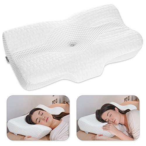 Elviros Cervical Pillow, Memory Foam Bed Pillows for Neck Pain Relief, Adjustable Ergonomic Orthopedic Contour Support Pillow for Sleeping, Back, Stomach, Side Sleeper (White)