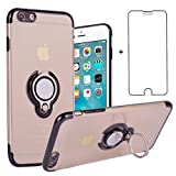 Phone Case for iPhone 6 Plus/6S Plus Clear Cases with Tempered Glass Screen Protector Magnetic Ring Holder Stand Kickstand Slim Silicone TPU Cover Apple iPhone6+ iPhone6plus i 6Plus iPhone6splus Black