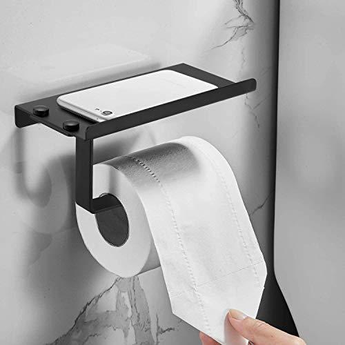 Toilettenpapierhalter ohne Bohren, Papierhalter Schwarz Matt Klopapierhalter mit Ablage 18x9x7.5CM mit 3M Kleber Papier Halterung für Badezimmer/Küche/Hotel/Büro
