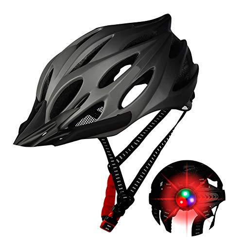 DYOYO Casco de Bicicleta con Luz LED Ajustable,Cascos de Bici con Protección Seguridad,Helmet con Visera extraíble Ajustable y Ligero,ala Desmontable,para Hombres y Mujeres 52-56cm
