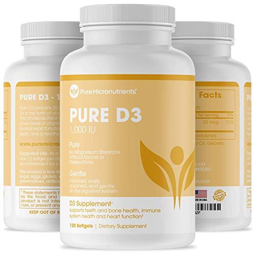 Vitamin D Supplement 1000 IU, Natural D3 Supplements, Premium Grade (Cholecalciferol), for Strong Bones & Immune Function, 120 Count - Pure Micronutrients