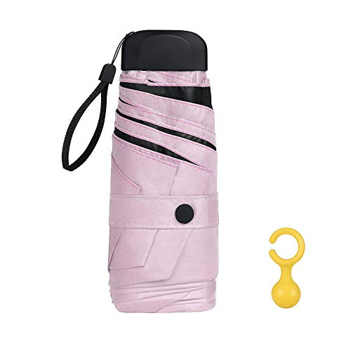 Vicloon Mini Regenschirm, Taschenschirme mit Regenschirmhaken, 6 Rippen, Aluminium Schirmständer, Sonnenschutz Regenschirm Im Freien UV Faltender Regenschirm, Goldener Griff, Leicht Kompakt - Rosa