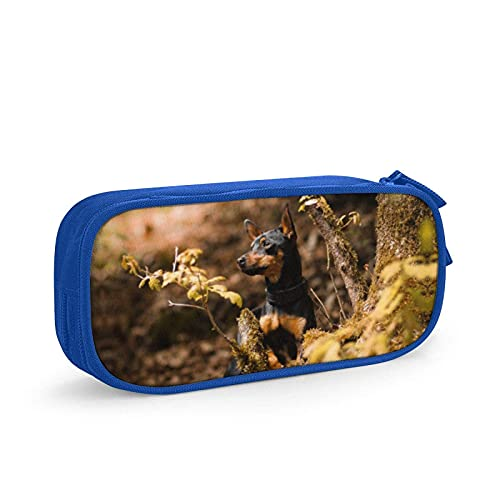 Portamatite portatile elegante cane in miniatura Pinscher moda cerniera penna marcatore titolare sacchetto sacchetto trucco borsa penna borsa per scuola ragazzi/donne blu