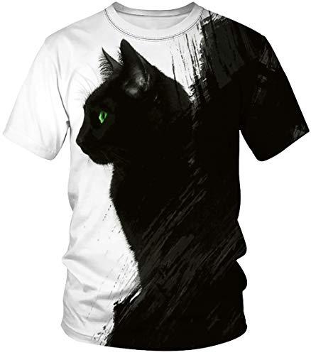 Amade メンズ 半袖Tシャツ ホワイト 黒猫 猫tシャツ かわいい おしゃれ 男女兼用 カップル ゆったり スウェット カジュアル 春夏-JP069-B50-XXL