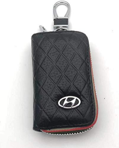 Yeer Premium Leather Auto Schlüsselanhänger Münzportemonnaie Reißverschluss-Kasten Fern-Mappen-Beutel geeignet for alle Hyundai Modelle