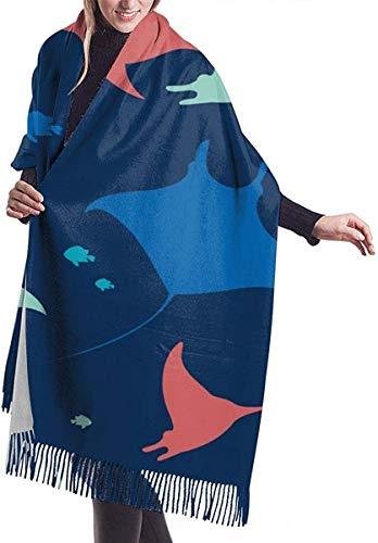 Behang Met Zee Dieren Op Blauw Zachte Cashmere Sjaal Wrap Sjaals Lange Sjaals Voor Vrouwen Office Party Reizen 68X196 cm