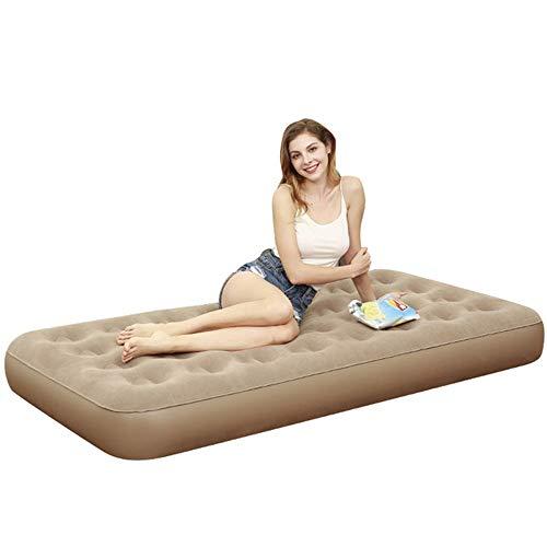 Colchón de Aire Cama portable de aire de tamaño doble colchón de aire Flocked Colchón inflable for actividades al aire libre y una cama cubierta para Acampar ( Color : Marrón , Size : 79*191*22CM )
