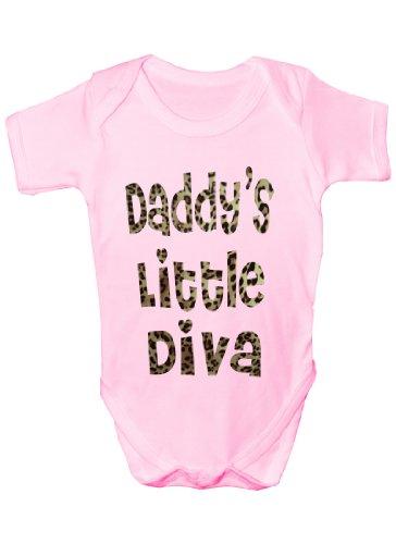 Daddy's Little Diva en Imprimé Animal ~ Cadeau Humoristique Body bébé Fille/garçon Gilet - Rose - 18 Mois