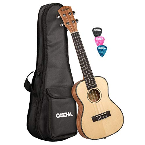 CASCHA Konzert Ukulele, Massive Fichtendecke, Solid Top, Hawaii Gitarre Set mit Aquila-Saiten, Zubehör, Tasche und 3 Plektren