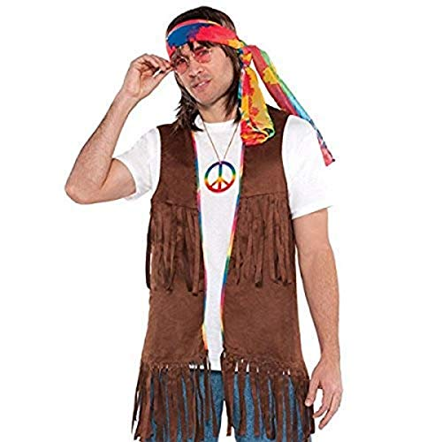 AMSCAN Fringe Vest Halloween Costume Accessory for Adults, One Size , Brown
