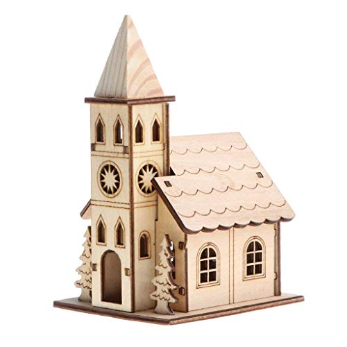 SGerste 3D Wooden Puzzle Jigsaw Assembly Model Belfry House Villa Christmas Dollhouse Construction Kit for Children Educational DIY Craft Toys #C