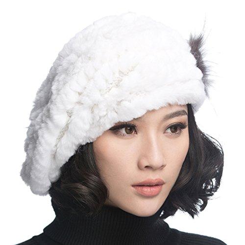 URSFUR USFUR Frauen Mehrfabrige Warme Weiche Mütze Rex Kaninchen Fellmütze Baskenmütze Strickmütze Fedora Barett-weiß