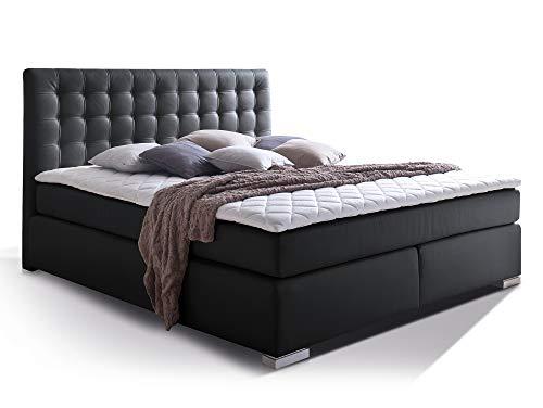 moebel-eins Isabell Plus Boxspringbett Hotelbett Bett amerikanisches Bett 7-Zonen-Multi-Tonnentaschenfederkern-Matratze, 200 x 200 cm, schwarz, Härtegrad 2