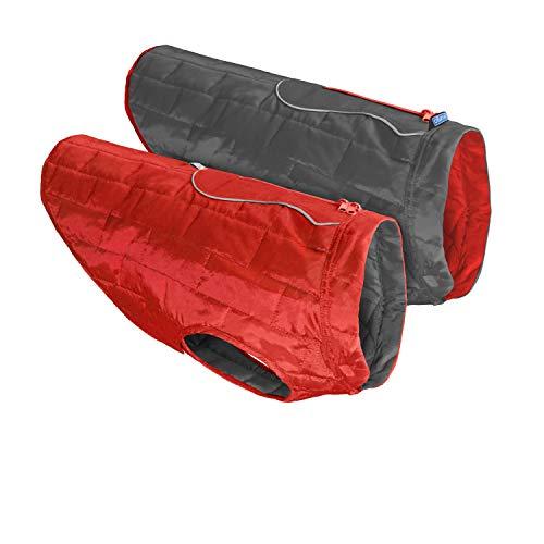 Kurgo Loftowy płaszcz dla psów, odwracalna, odwracalna kurtka zimowa dla psów, wodoodporna odzież dla zwierząt domowych, odblaskowy, lekki, z uprząż – czerwony/szary, L