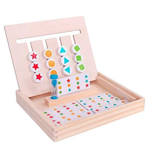 JOKFEICE Slide Puzzle Rompecabezas de Color y Forma Juego de lógica Juego de lógica Montessori Juguetes educativos de Madera para niños Niños Niñas 3+ años Juego Familiar (A)