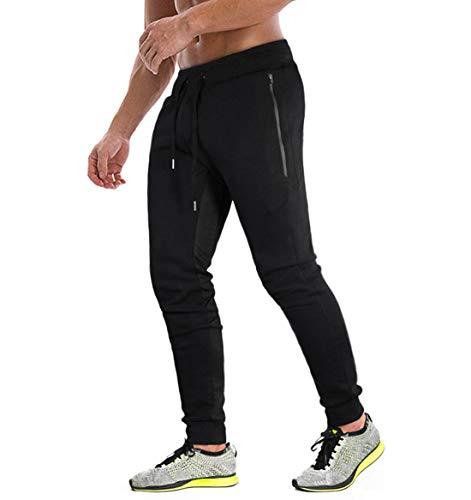 KEFITEVD Pantalon de Jogging Gym pour Hommes Pantalon de Course à Pied de Yoga Respirant avec 3 Poches Zippées Noir,38