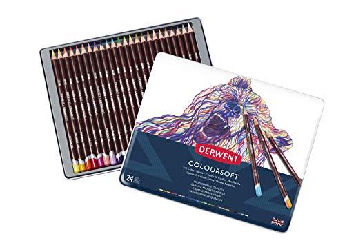 Derwent Colored Pencils, ColourSoft Pencils, Drawing, Art, Metal Tin, 24 Count (0701027)