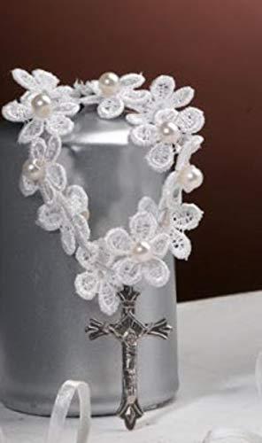 12 pulseras rosario blanco de macramé y perlas para recuerdo de comunión
