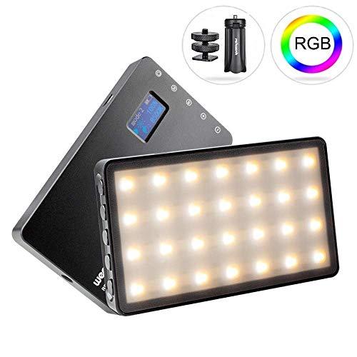 Weeylite RB08P Luce video RGB LED a colori, CRI95 + Colori accurati, 2500k-8500k regolabile, 8 modalità funzionali, dimmerabile 10% -100%, con schermo OLED, batteria integrata, mini treppiede Pergea