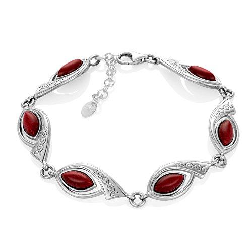 LillyMarie Damen Armkette Silber Sterling-Silber 925 Goldfluss rot Länge Flexibel Schmucketui Pärchen Geschenke