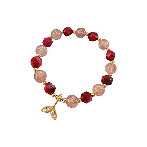 tgbvr Sweet Transshipment Fishtail Agate Crystal Bracelet Girl Girl Heart Student Novias Piedra Natural Simple Pulsera Mujer