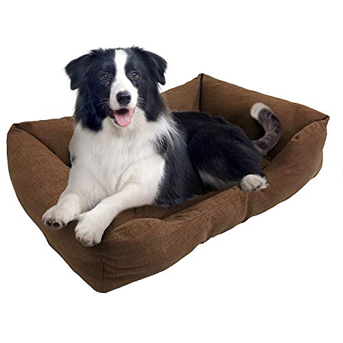 BRAVO HOME Cama para Perros y Gatos Colchón Perro de Color Marrón y Bordes Salientes para Perros Pequeños, Medianos y Grandes (Tallas M,L), L-80x60cm